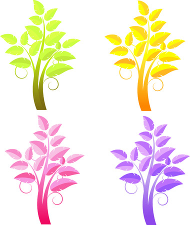 Tree set, isolated on white, vector Vector
