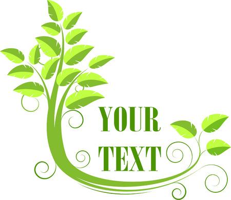 logotipo abstracto: Resumen con el logotipo del �rbol, de color verde. Aislado en blanco, vector Vectores