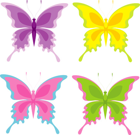 Butterfly set, isolated on white, vector Vector