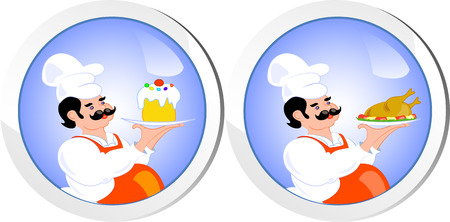 Two icons with cook, isolated on white, vector Vector