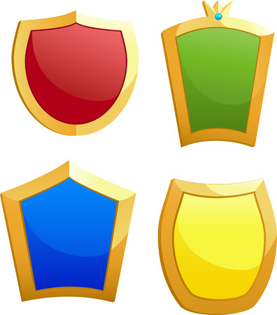 Four shields, isolated on white, vector Vector