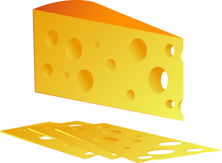 nutritive: Cheese, isolated on white, vector
