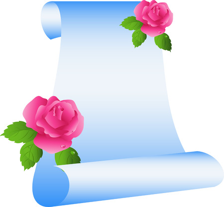 Scroll with roses, isolated on white, vector, 8 format