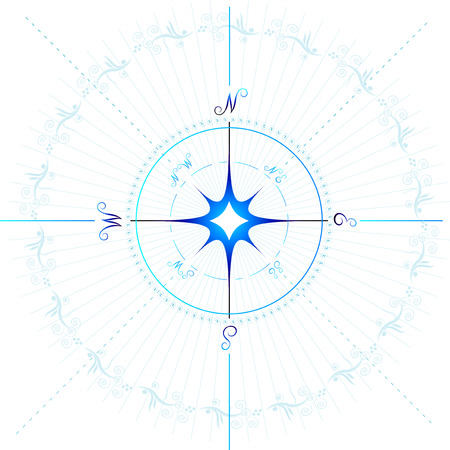 위도: Compass. vector, isolated on white