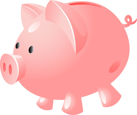 miserly: Pig bank, isolated on white, vector