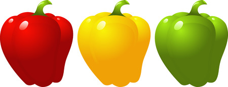 Pepper,  red, yellow, green, isolated on white, vector  Vector
