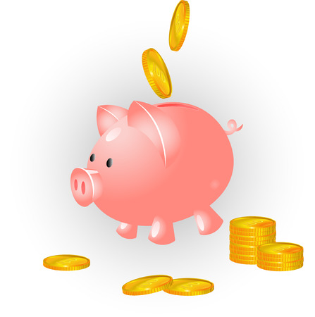 Vector imajes. Pig banck and coins. Isolated on white Vector