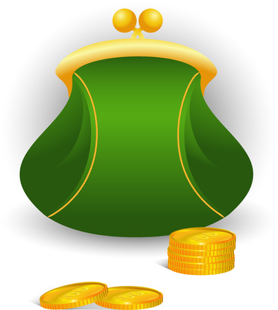 Vector de imagen, bolso blanco y monedas. Aislado en blanco