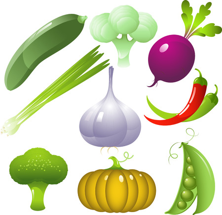 Vector vegetables set, isolated on white Vector