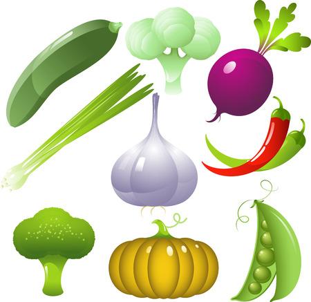Vector vegetables set, isolated on white Ilustração