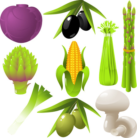 Set van geïsoleerde vector groenten