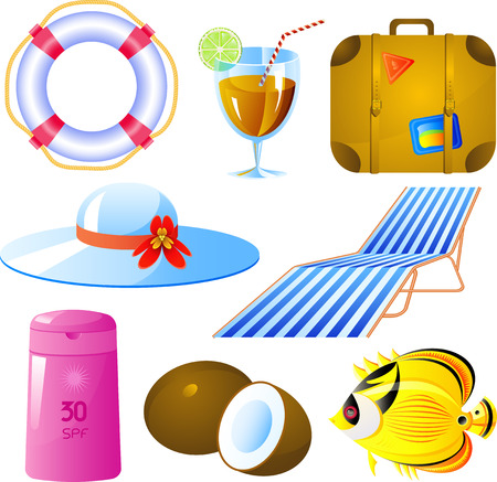 Vector image of vacation icon set, isolated Vector