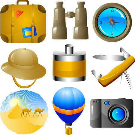 Adventures vector icon set, isolated on white Vector