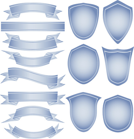 Set of vector tapes and shields for your own logo Stock Vector - 4995194