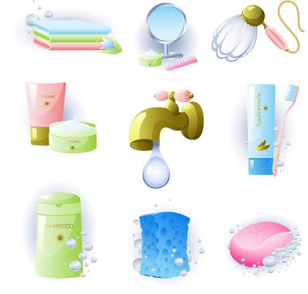 pasta dientes: Vectores de accesorios para la higiene personal. Aislado en blanco.