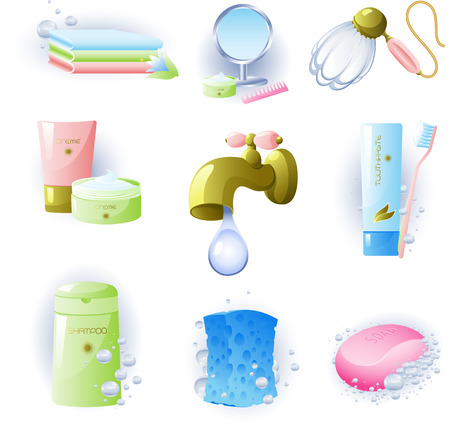 Vectors of accessories for personal hygiene. Isolated on white.