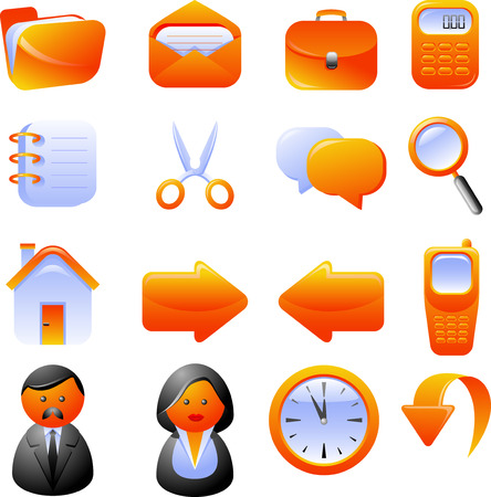 Set of 16 vector icons. Isolated on white. Vector