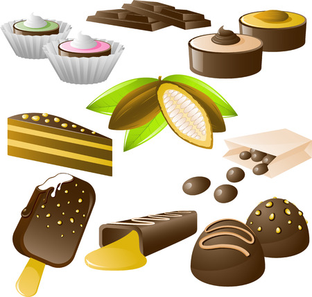 variations set: 8 chocolate desserts and cocoa beans! Isolated on white