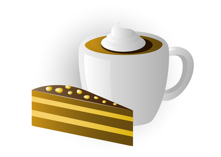 fudge: vector image of a cup of cappuccino and cake. isolated. Illustration