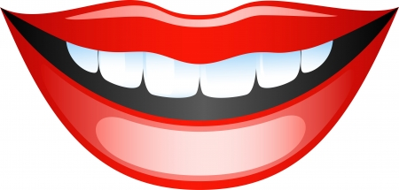 Vector image smiling female lips. Isolated on white