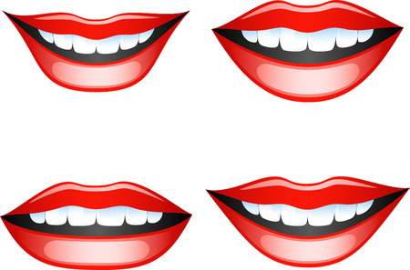 Vector images smiling female lips. Isolated on white