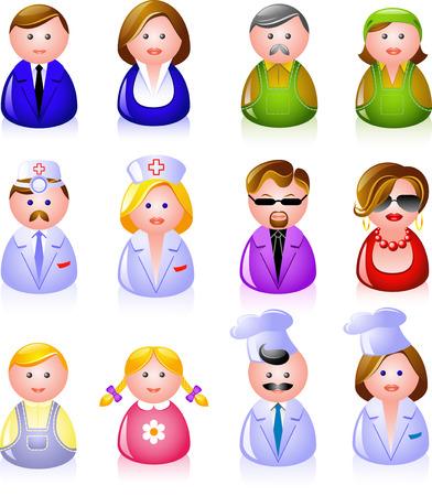 avatars: 12 persone icone: impiegati, operai, medici, coppia glamour, i bambini, e cuochi! Vettoriali