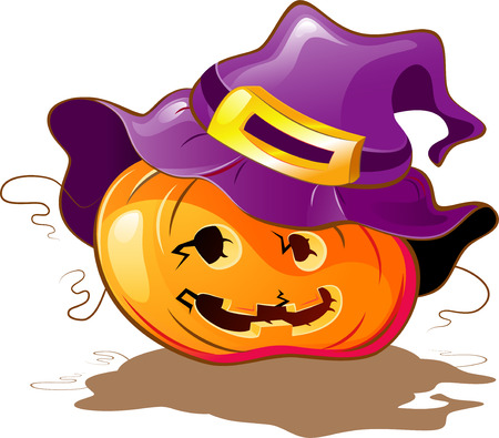 Halloween Pumpkin a purple hat. Isolated on white. 8 Vector