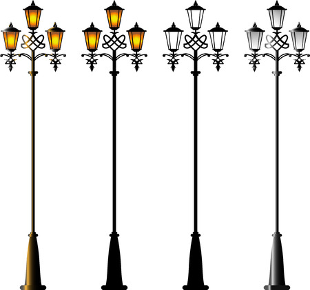 Street Lamps. Isolated on white. 8 Vector