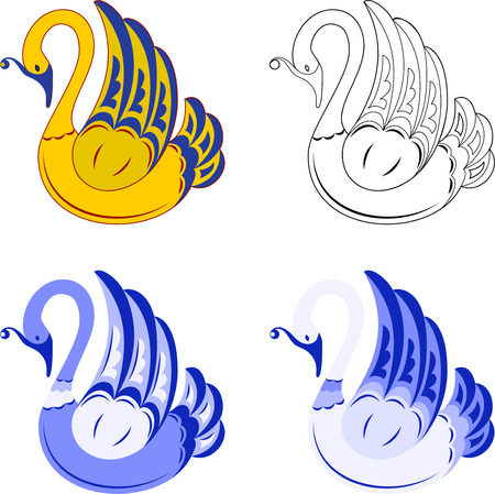 Four decorative swan. Isoalted on white. 8 Stock Vector - 5503714