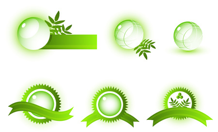 Vector abstract symbols. Green. Isolated on white. 8