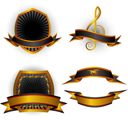Set of black vector emblems and banners. Isolated on white. 8