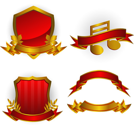 Set of red vector emblems and banners. Isolated on white. 8 Stock Vector - 5528017