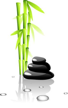 SPA. Bambus und schwarzen Steinen.Isolated on White. 8