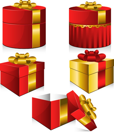 Set of five vector gift boxes. Isolated on white. 8 Vector