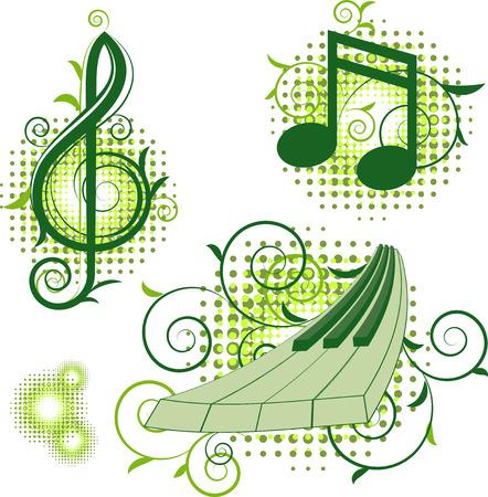 semiquaver: Musical segni con elementi floreali. Isolati su bianco. EPS 8