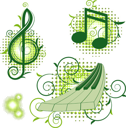 Musical signs with floral elements. Isolated on white. 8 Vector