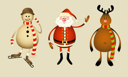 Isolated Santa Claus, snowman, reindeer. 8 Stock Vector - 5623428