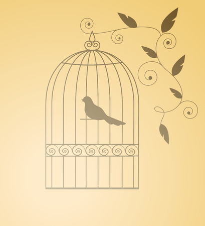 Siluet bird in a cage. Isolated.  Illustration