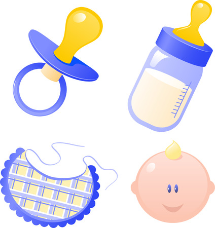 Manichino Baby Blue's, biberon, tute e bambino. Isolati su bianco. EPS 8 Vettoriali