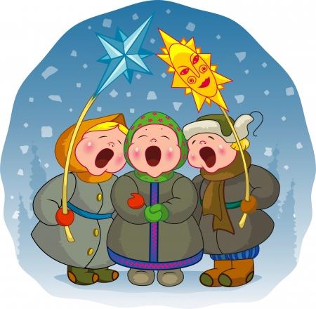 botas de navidad: Los ni�os cantan una canci�n sobre un fondo de invierno