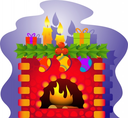 A vector illustration of a fireplace with a Christmas theme. EPS 8 Vector