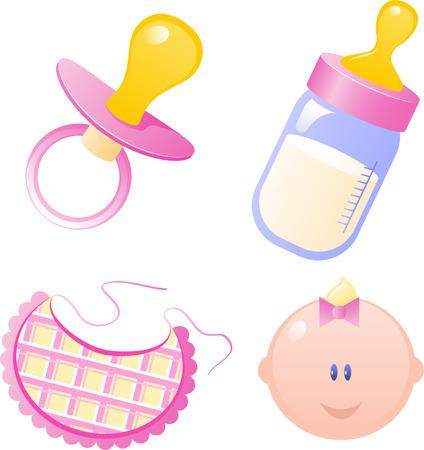 Dummy bebé Vector Pink, biberón, babero y la niña. Aislado en blanco. EPS 8 Ilustración de vector