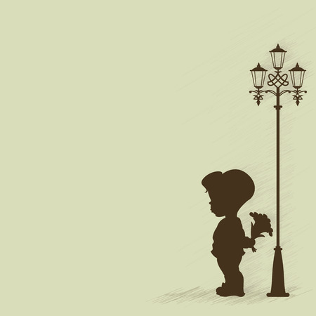 old fashioned: Boy with a bouquet of standing under a street lamp. Silhouette. Illustration