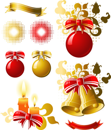Christmas design elements include: bells, balloons, banners, etc. EPS 8 Vector
