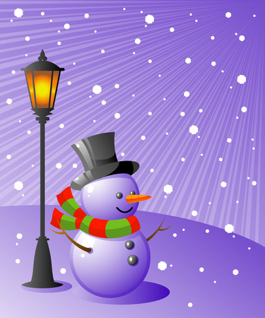 non urban scene: Snowman stands under a lamp on a snowy evening