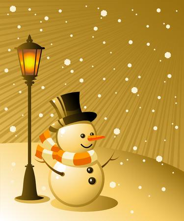 styczeń: Snowman stoi pod Å›wiatÅ'o w snowy wieczorem. 8 Ilustracja