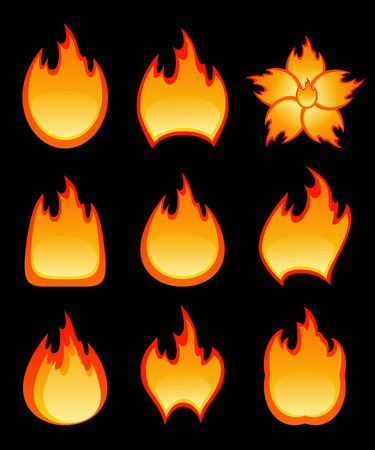 Set of fire.  Vector