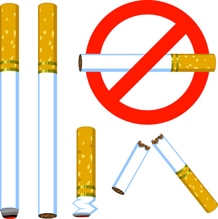 A set of Vector cigarettes: Hot, new, butt, broken and the sign &quot,no smoking&quot,.  Illustration