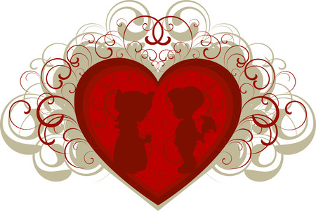 Silhouette of a boy and girl on the background of the heart. EPS 8 Vector