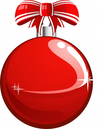 Red, vector Christmas ball. Isolated. EPS 8 Vector